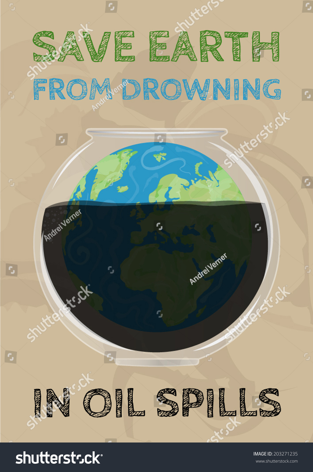 Poster design on save earth - Save Earth From Drowning In Oil Spills Poster Vector Illustration