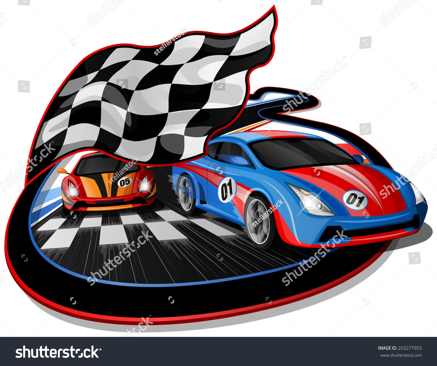 Speeding Racing Cars Approaching Finish Line Stock Vector