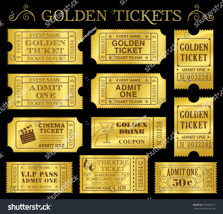 set eleven golden vector tickets coupons stock vector 203282713 shutterstock. Black Bedroom Furniture Sets. Home Design Ideas