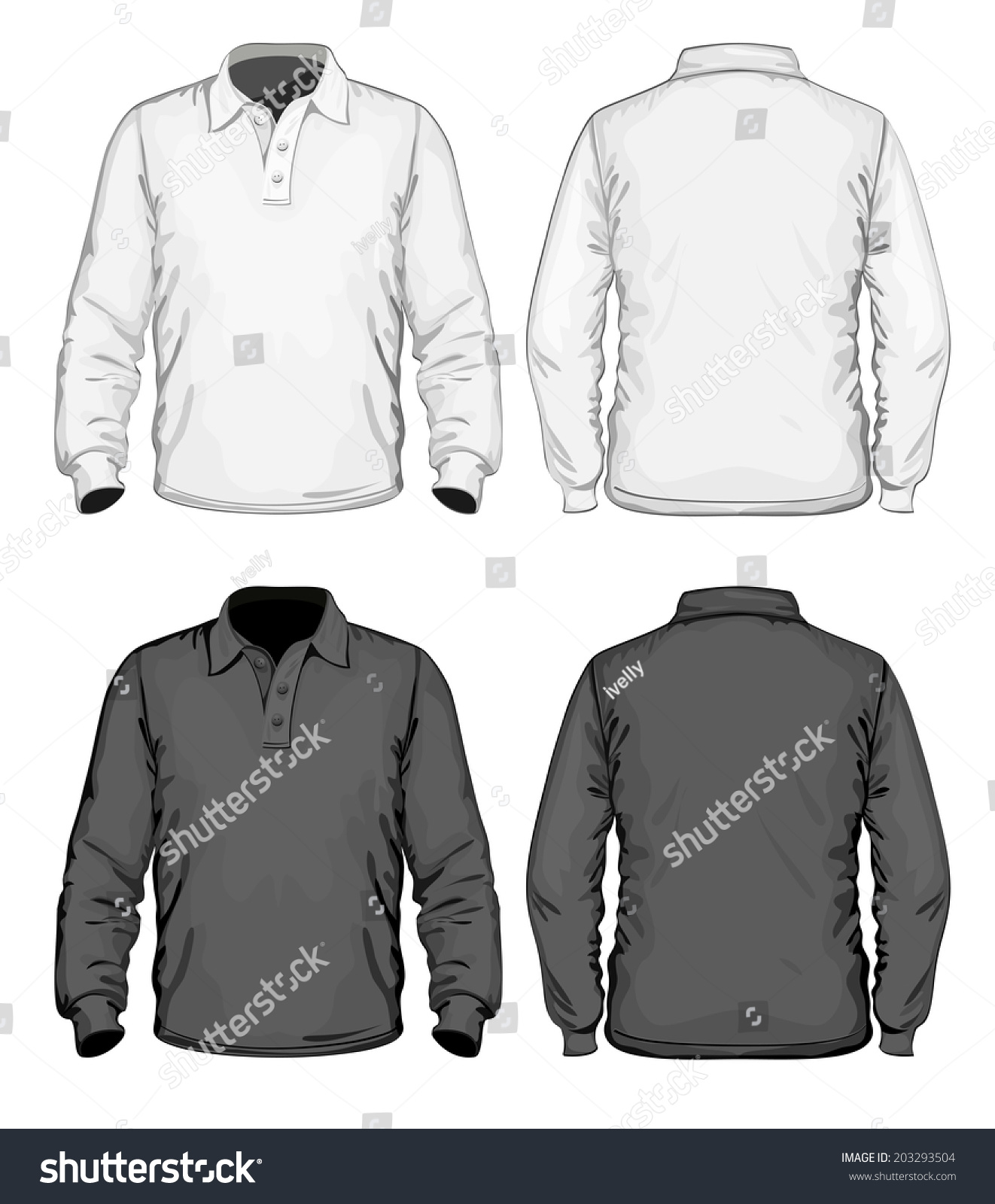 Mens Poloshirt Design Template Front Back Stock Vector Royalty Free