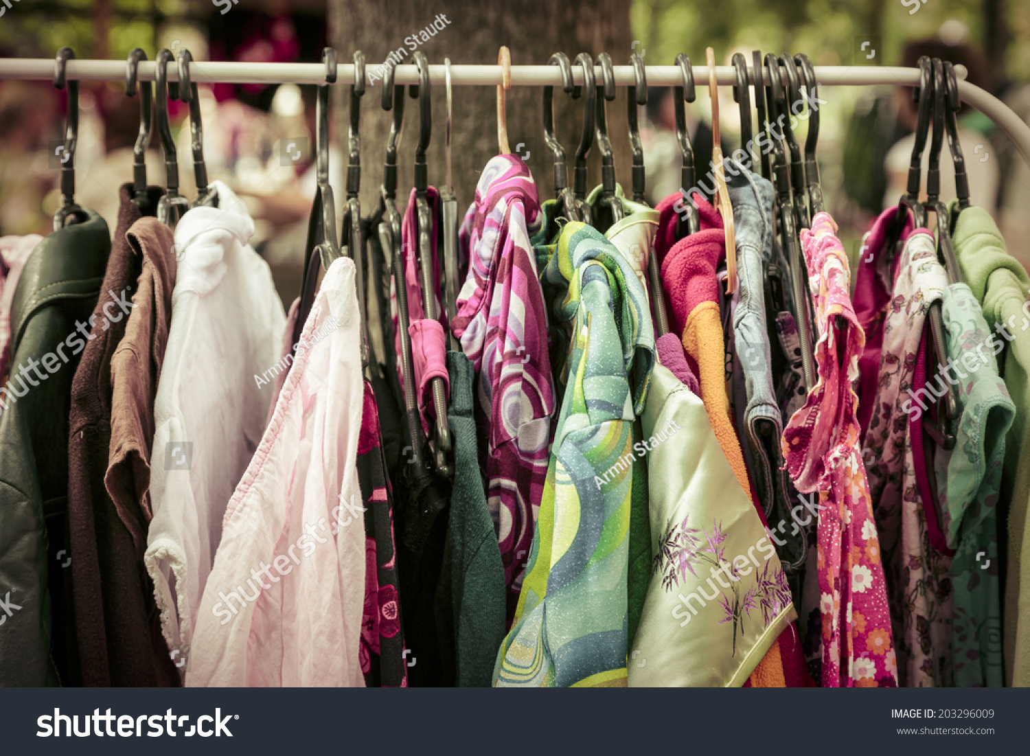 Clothes On Rack On Flea Market Stock Photo 203296009 ...