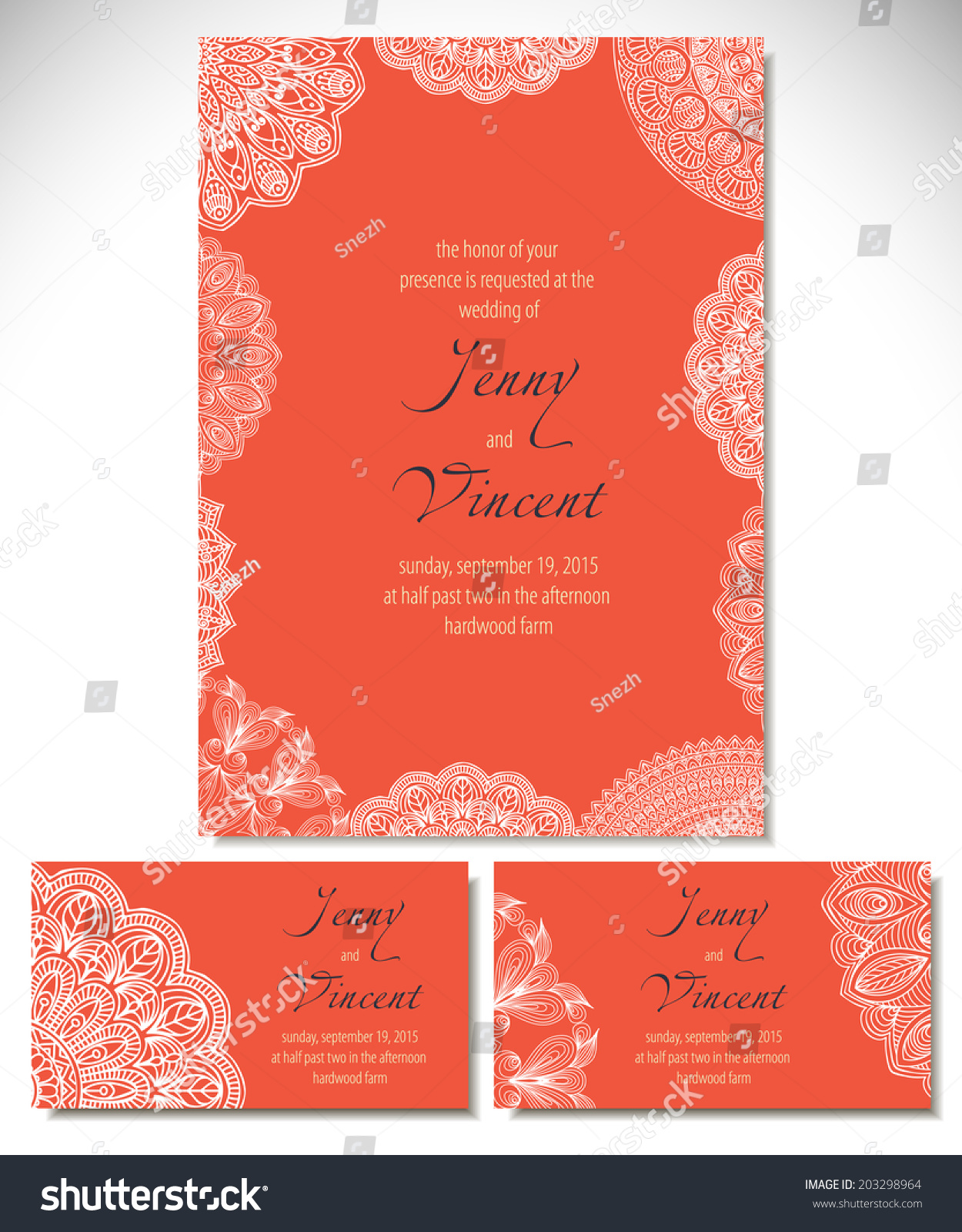 Set Wedding Invitations Vector Background Card Stock Vector ...
