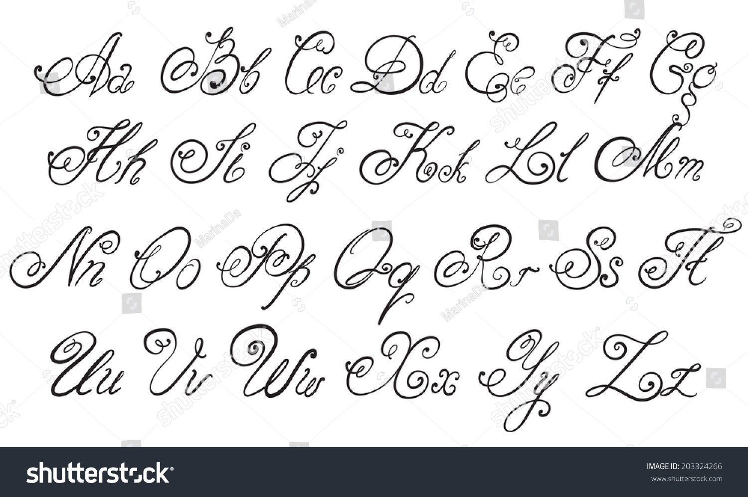 worksheet Letters In Alphabet vector hand drawn calligraphic alphabet stock letters