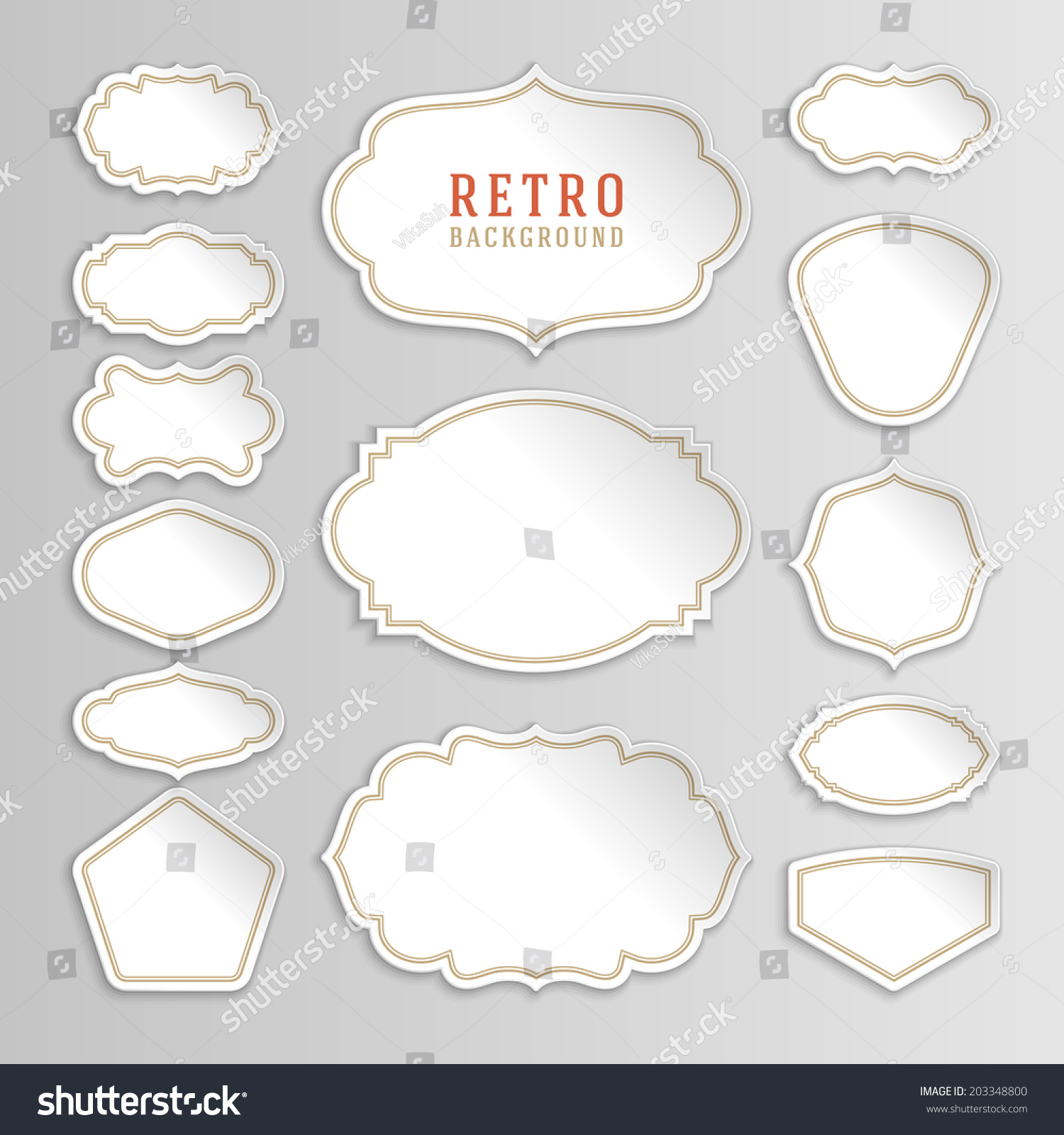 Vintage labels design retro style borders stock vector 203348800 retro style borders and frames labels tags badges and sciox Choice Image