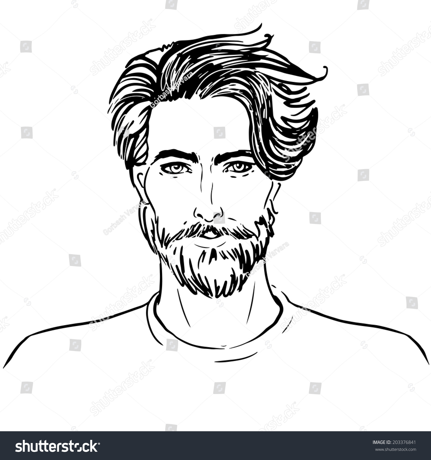 Portrait of handsome man with beard sketch style illustration