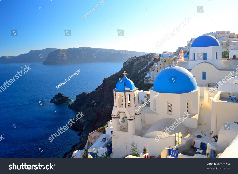 Beautiful Famous Santorini Blue Dome Churches Of Agios ...