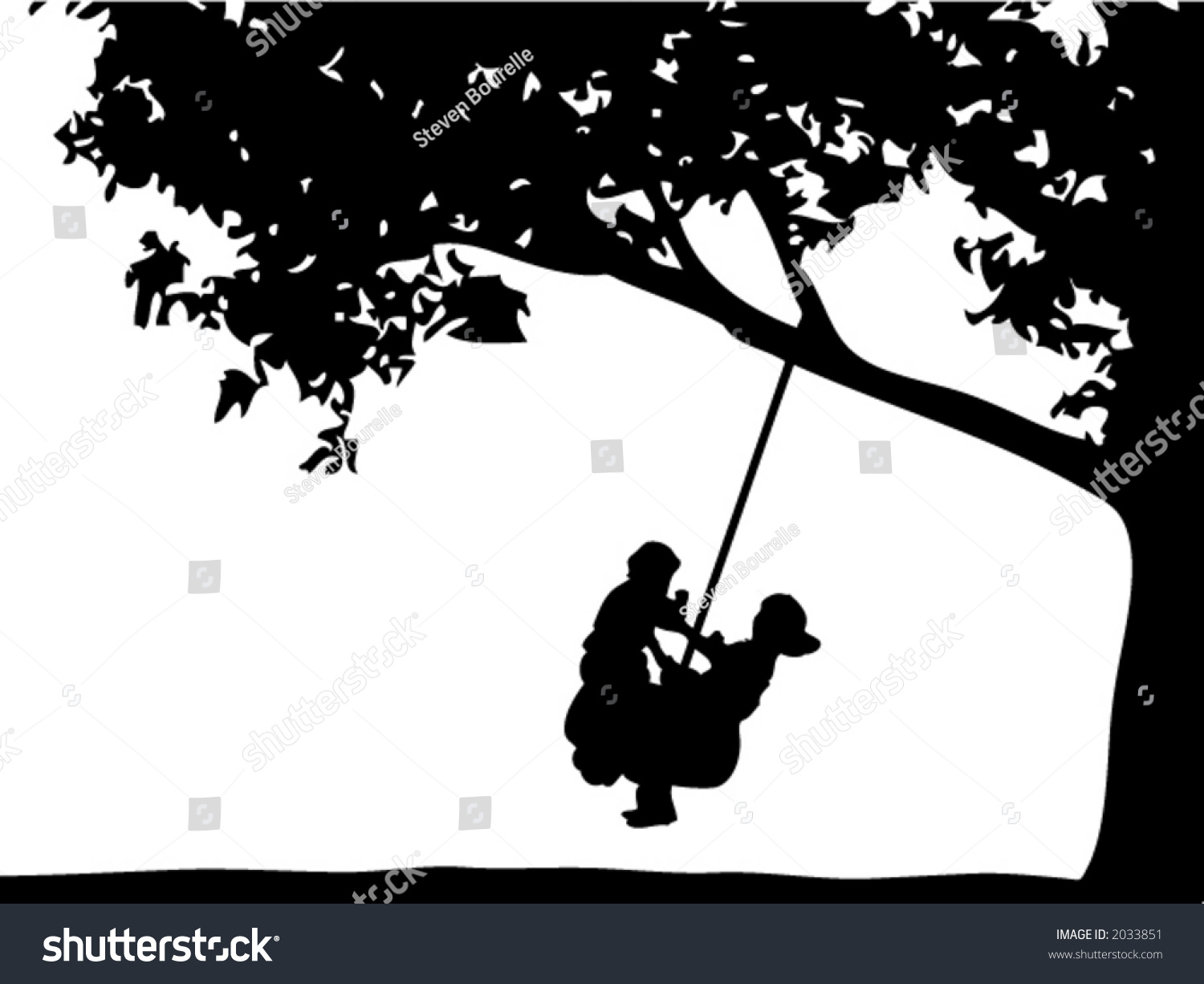 how to draw a person swinging on a tree