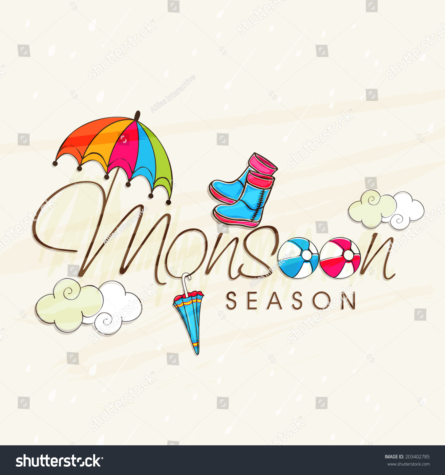 Beautiful greeting card design monsoon season stock vector beautiful greeting card design for monsoon season with colourful umbrellas clouds and boots on abstract kristyandbryce Image collections