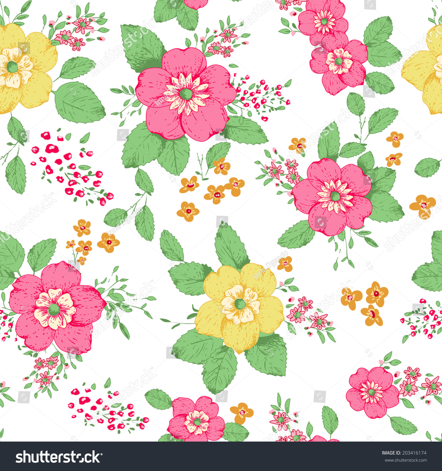 Shabby Chic Rose Pattern Background Copyspace Stock Vector (2018 ...