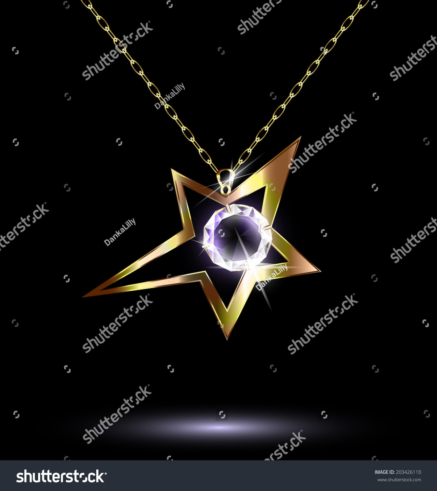 Jewelry chains starshaped pendant crystal stock vector 203426110 jewelry chains and star shaped pendant with crystal mozeypictures Image collections