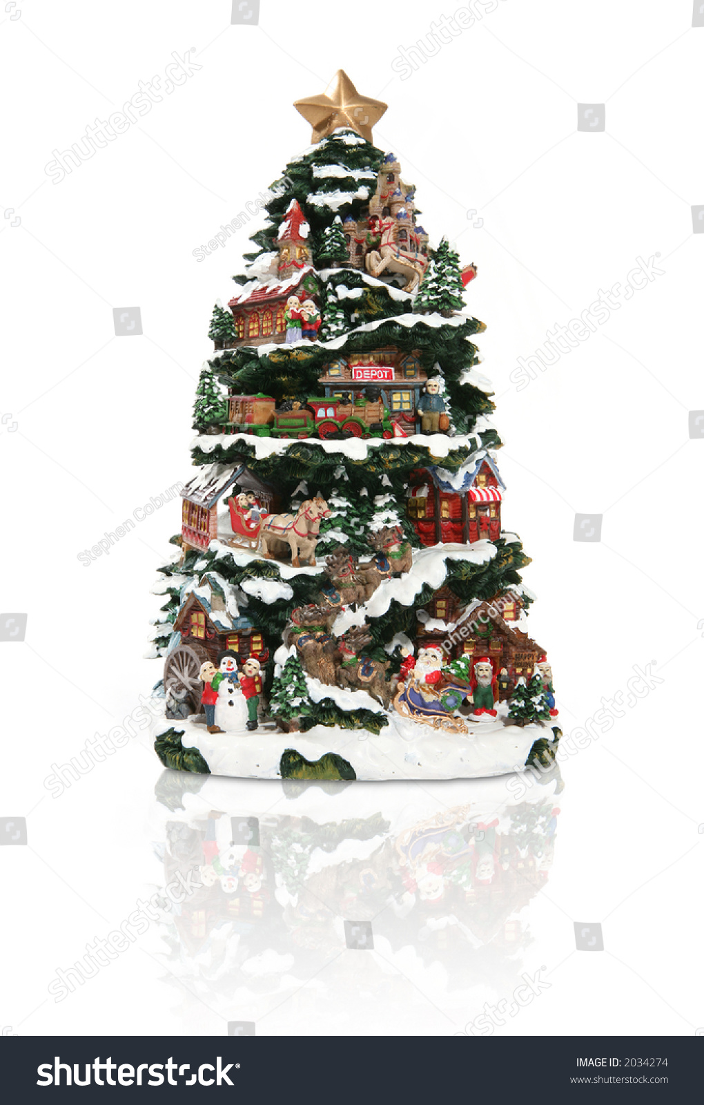 A Large Christmas Tree With Many Decorations Stock Photo ...