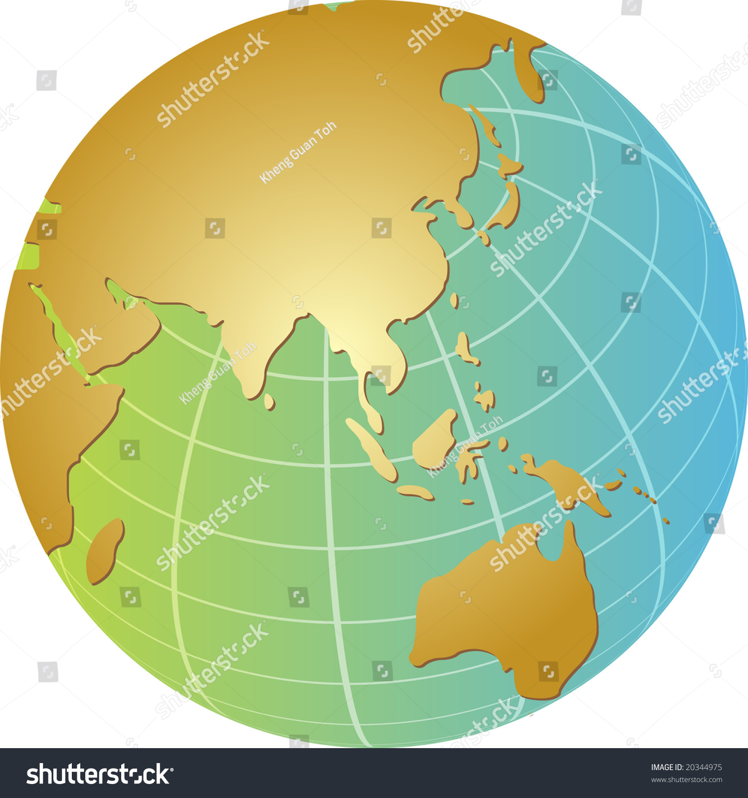 globe map illustration of the asia pacific