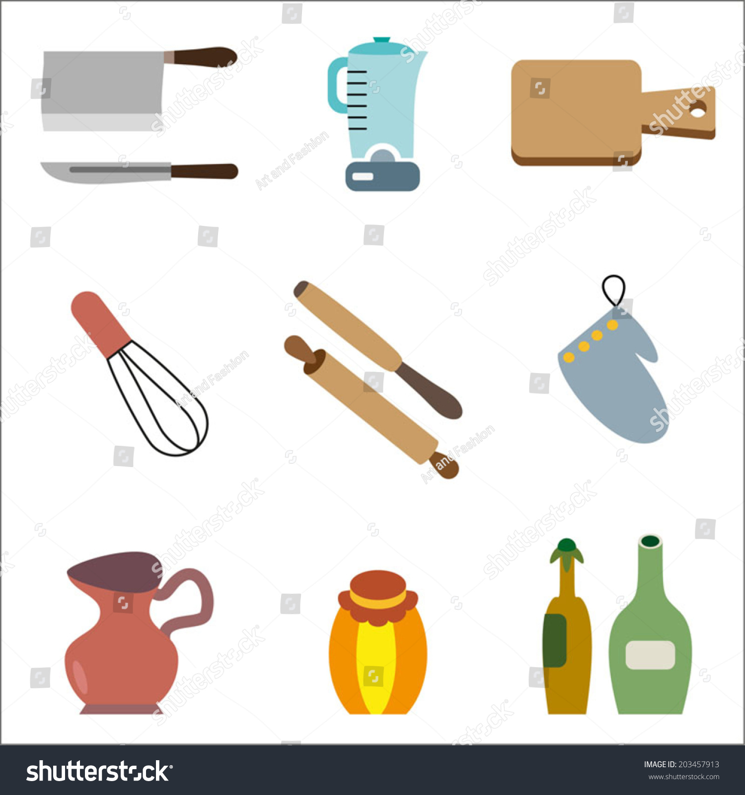 c8e3173012 Kitchen Cooking Icons Set Cooking Utensils Stock Vector (Royalty ...