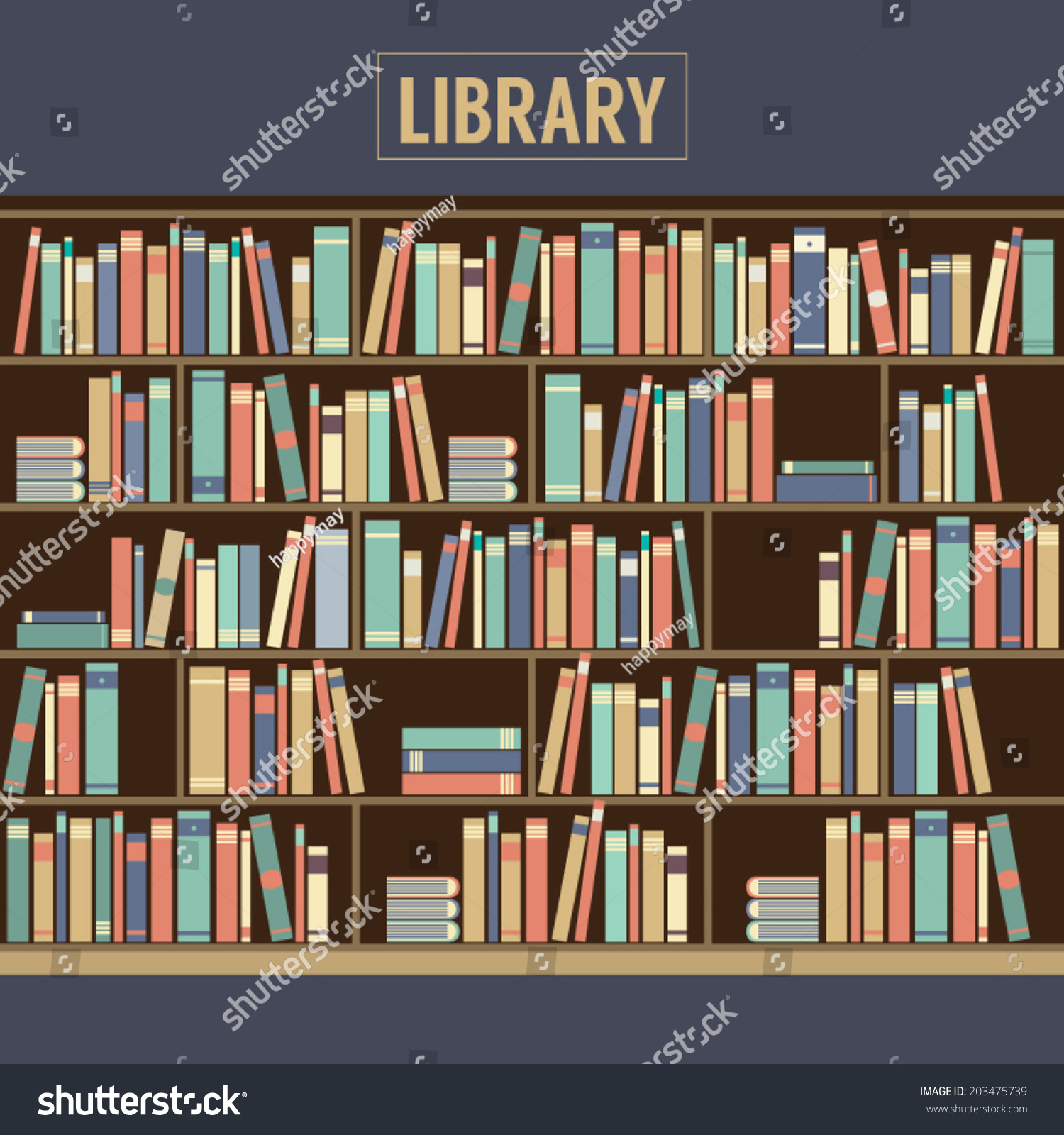 Bookcase In Library Vector Illustration Bookcase Library