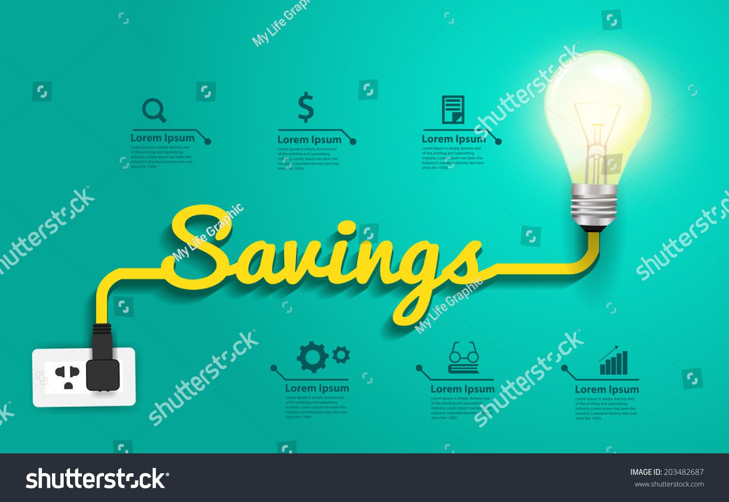 Savings Concept Creative Light Bulb Idea Stock Vector Royalty Free Infographic With Template For Diagram Abstract Layout Step Up Options