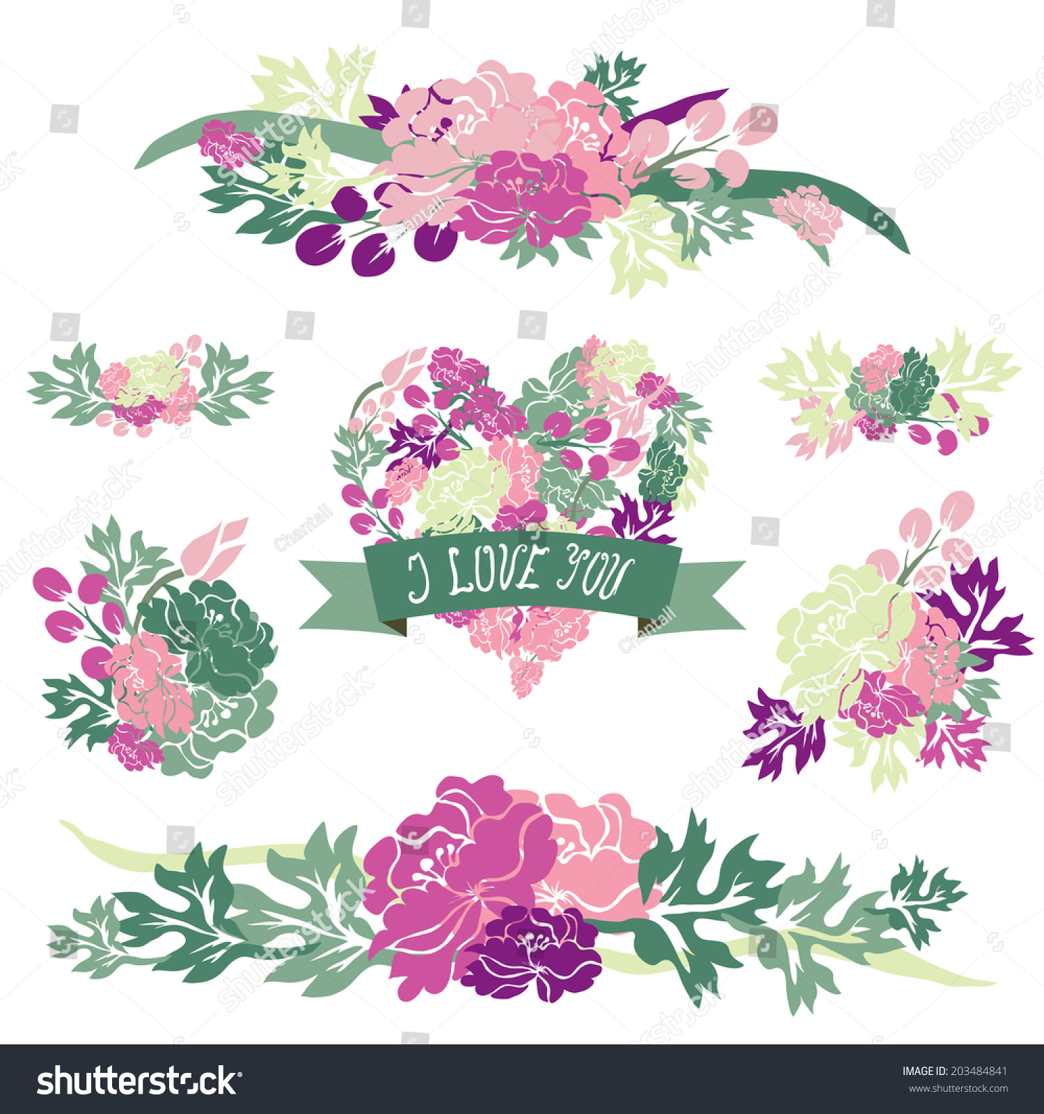 Elegant floral bouquets peony flowers design stock illustration elegant floral bouquets with peony flowers design elements floral compositions can be used for izmirmasajfo