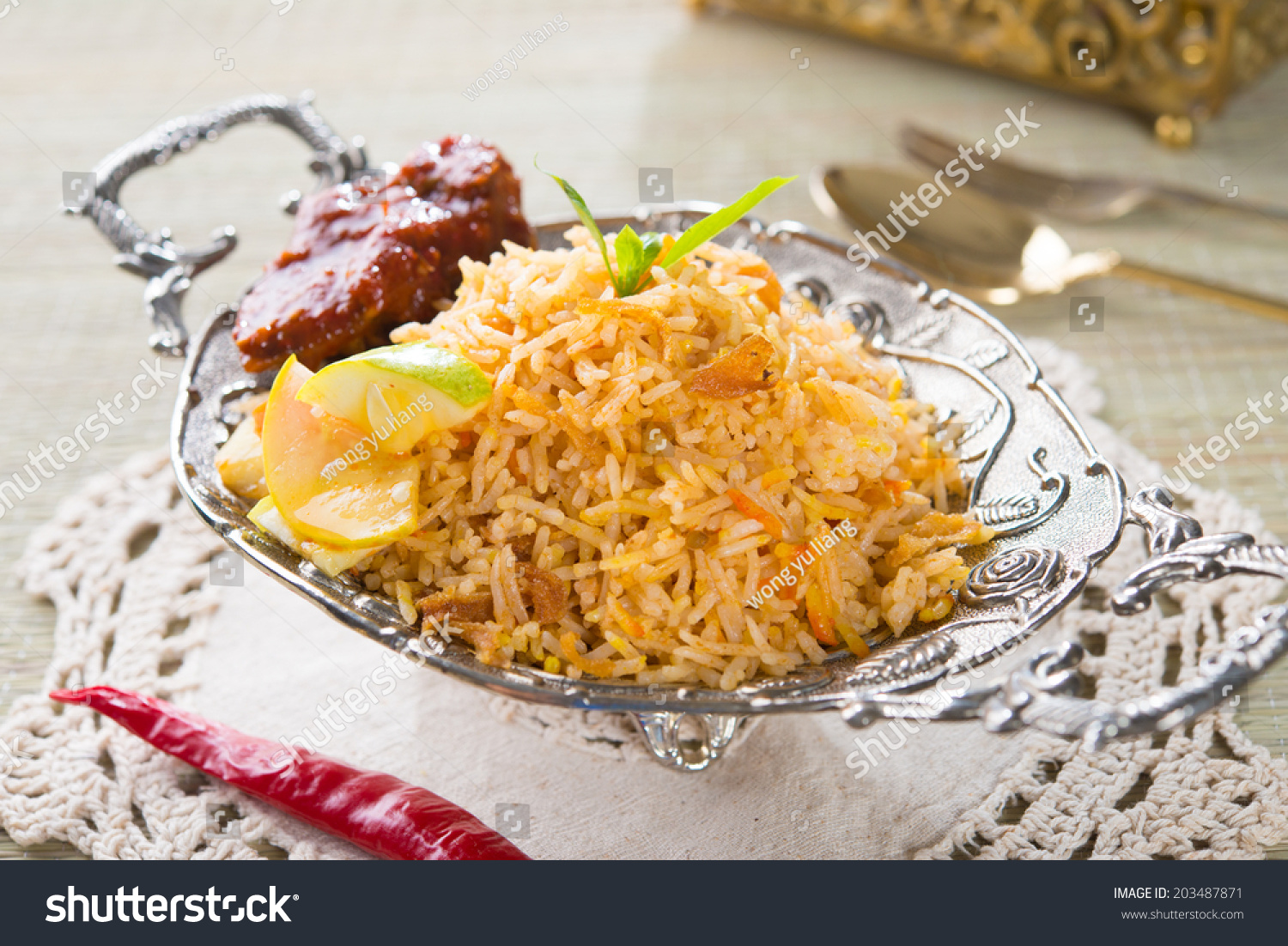 chicken biryani with decorations stock photo 203487871