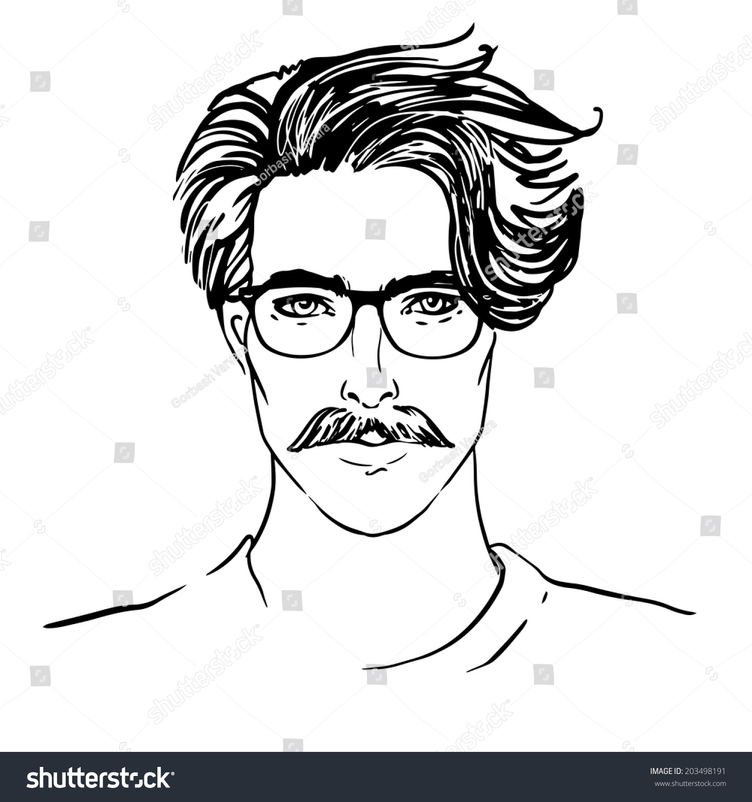 Hipster Sketchy Style Portrait Young Man Stock Vector ...