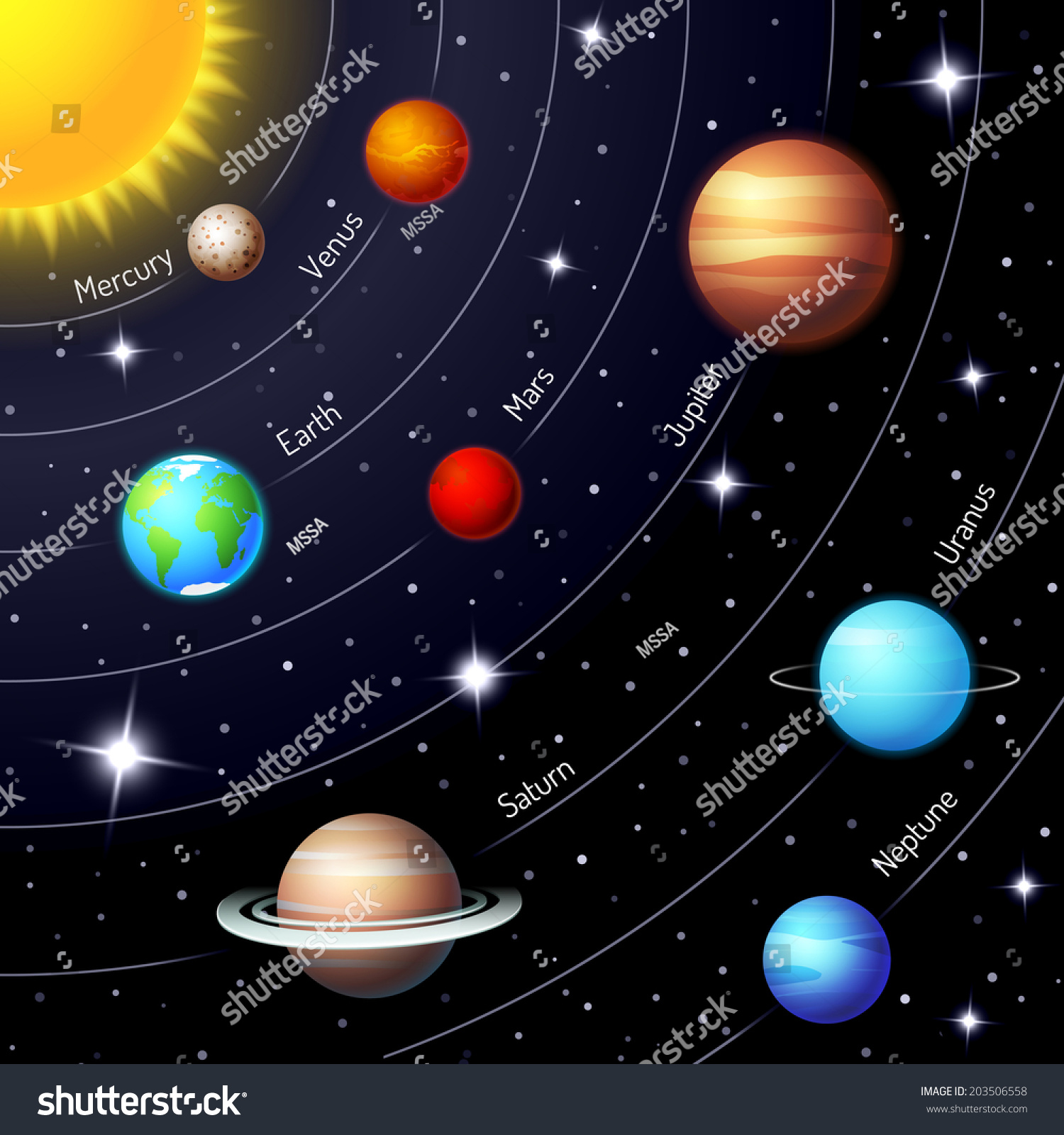 Colorful Vector Solar System Showing Positions Stock ...
