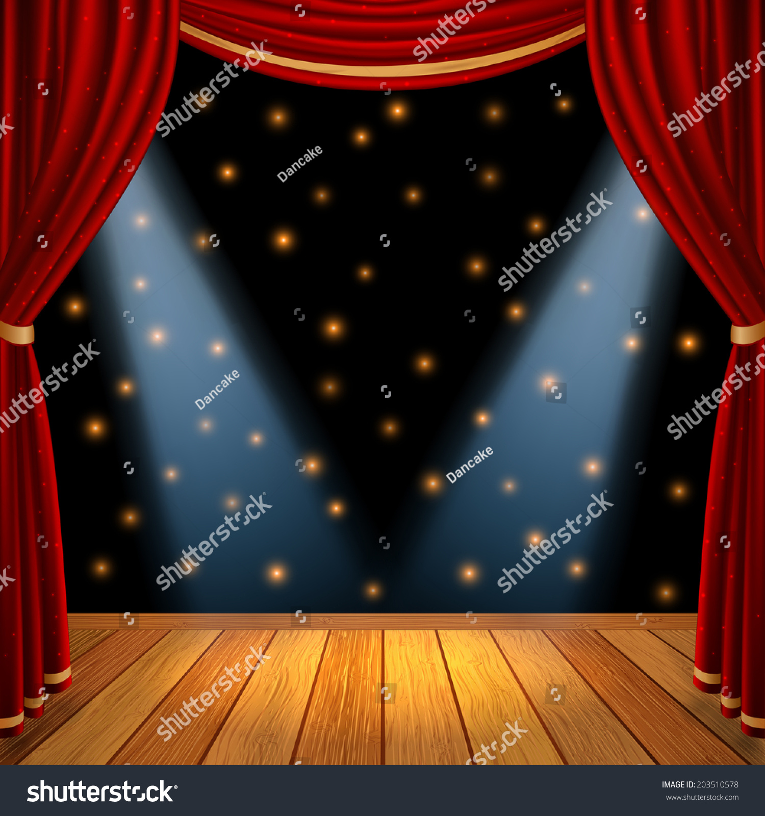 Stage curtains spotlight - Empty Theatrical Scene Stage With Red Curtains Drapes And Brown Wooden Floor With Dramatic Spotlight In