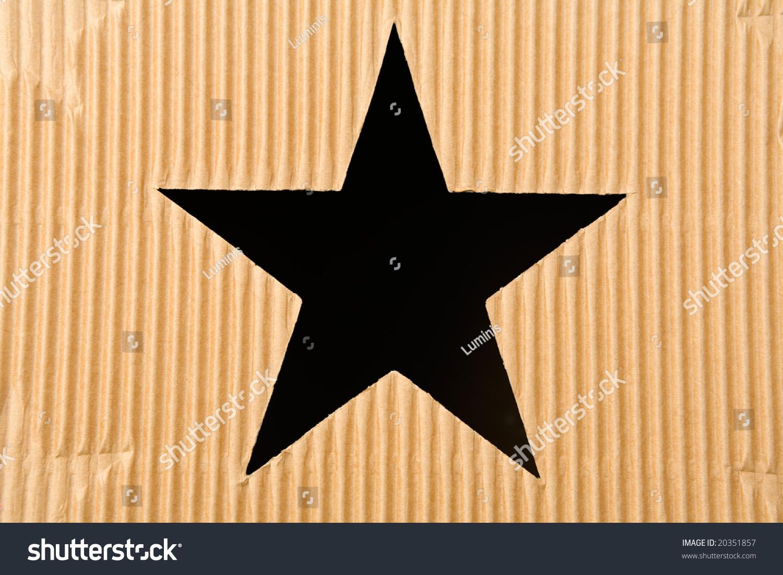 Star Shaped Hole In Cardboard Box Stock Photo 20351857