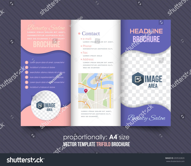 Trifold brochure beauty salon catalog vector stock vector for Beauty salon brochure template