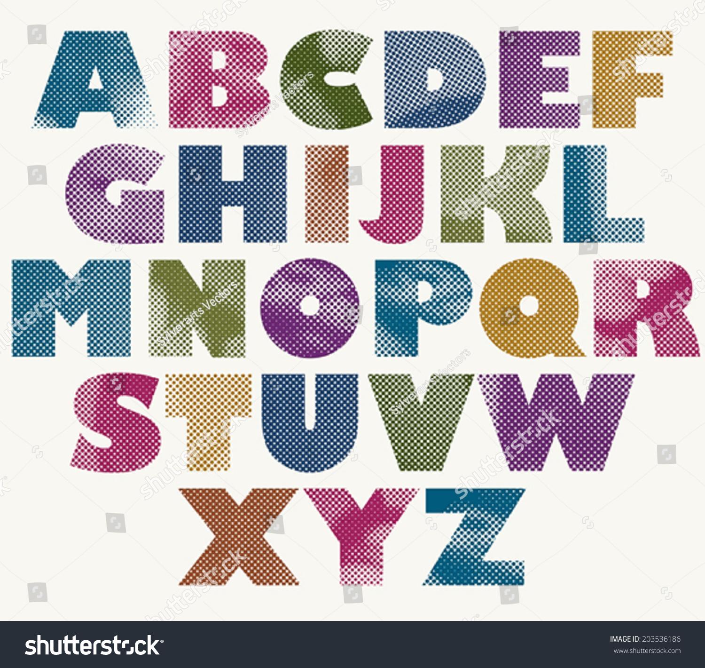 Color halftone printing - Halftone Dots Bold Font Color Pixels Print Texture Letters Vector Alphabet