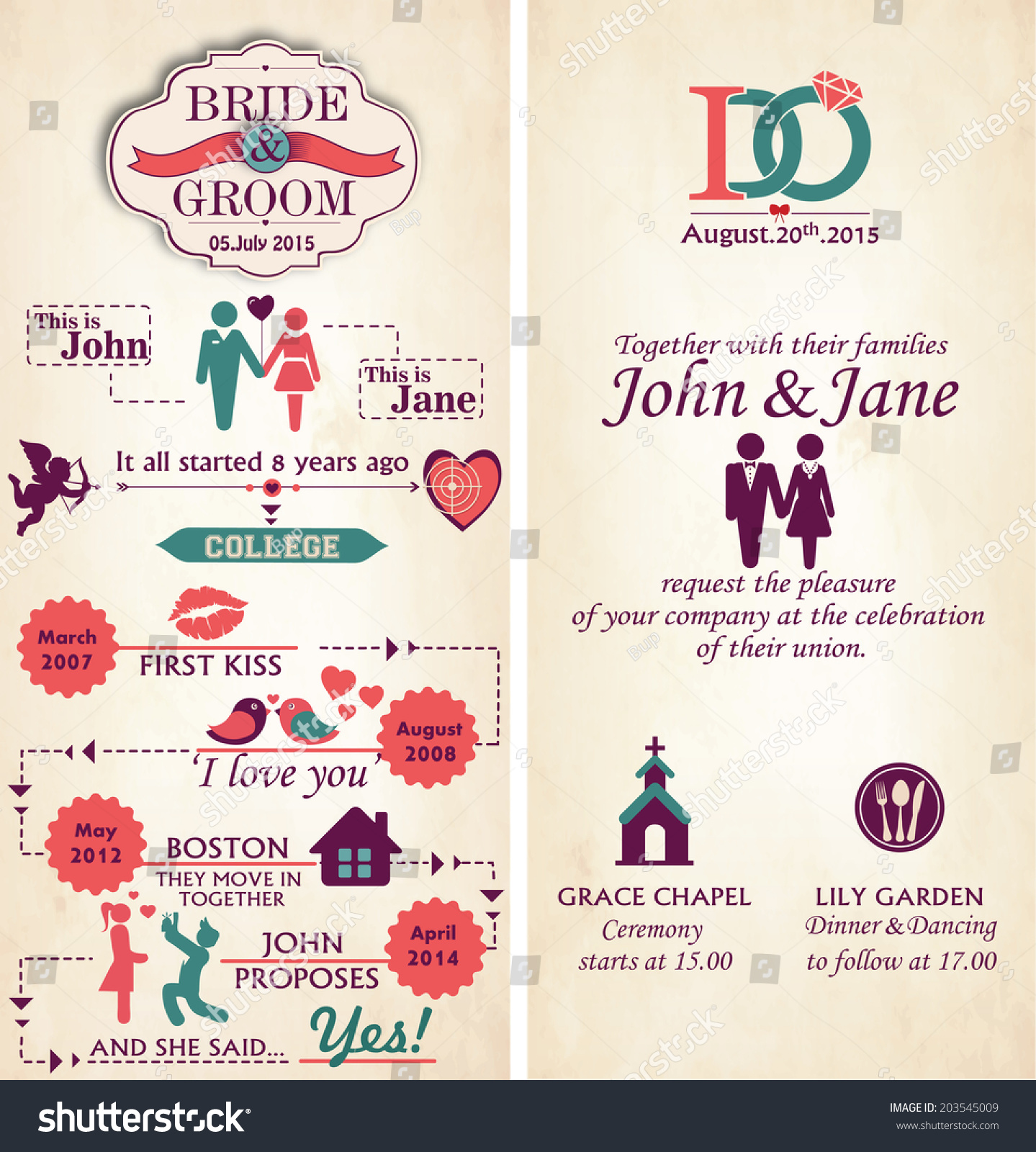 Wedding Invitation Card Front Back Infographic Stock