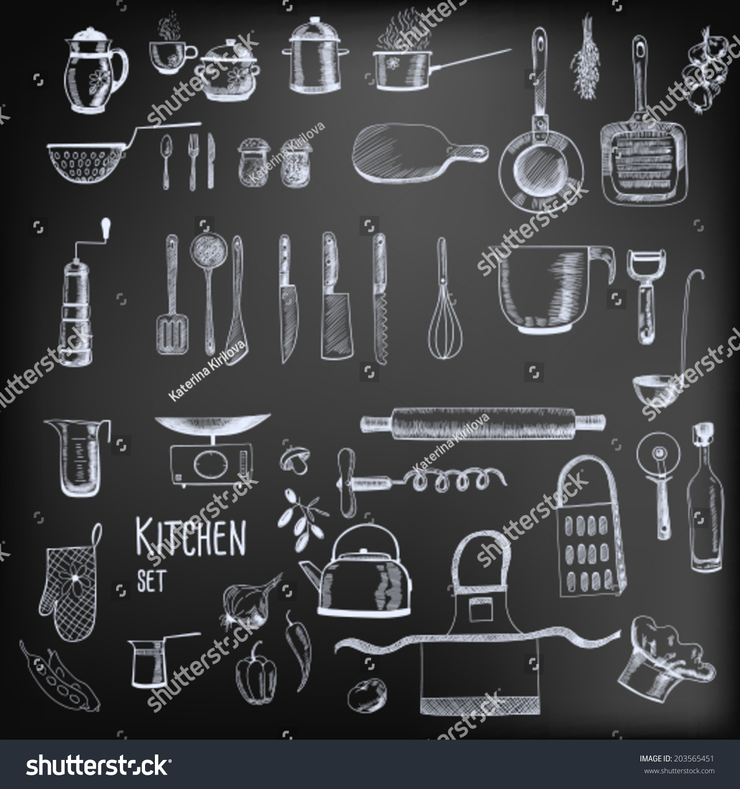 Kitchen Chalkboard Kitchen Set Large Collection Hand Drawn Stock Vector 203565451