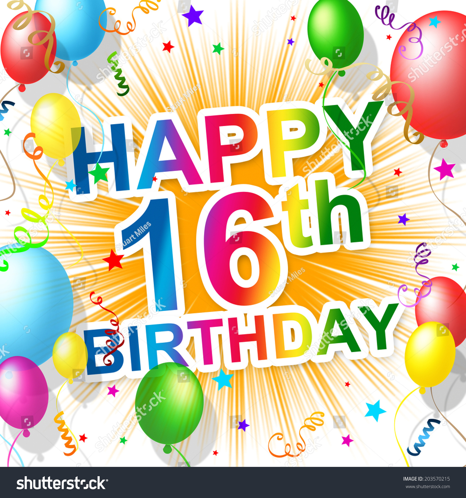 sixteenth birthday showing greetings party congratulation stock