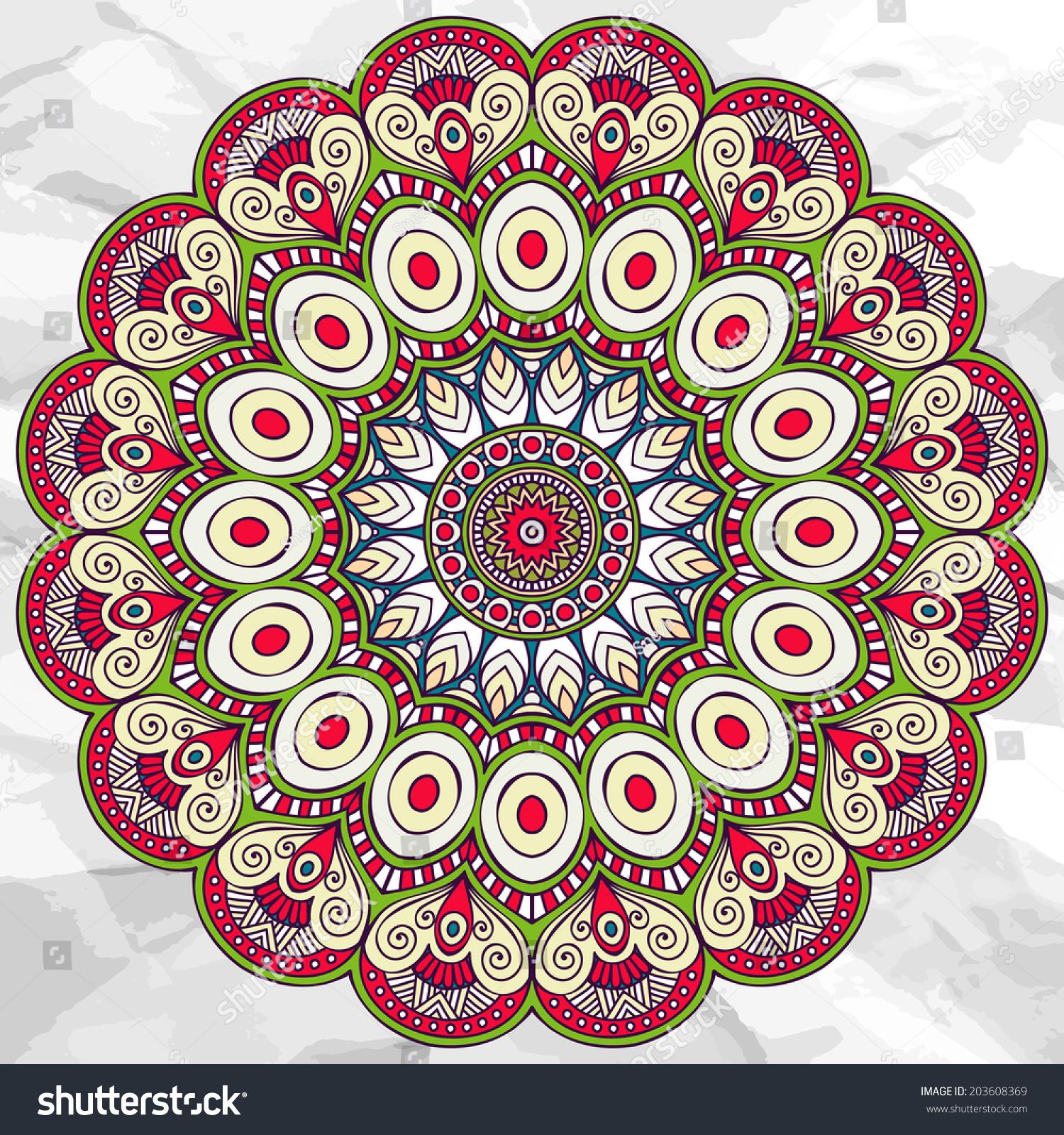 Mandala Round Ornament Vector Pattern Vintage Stock Vector