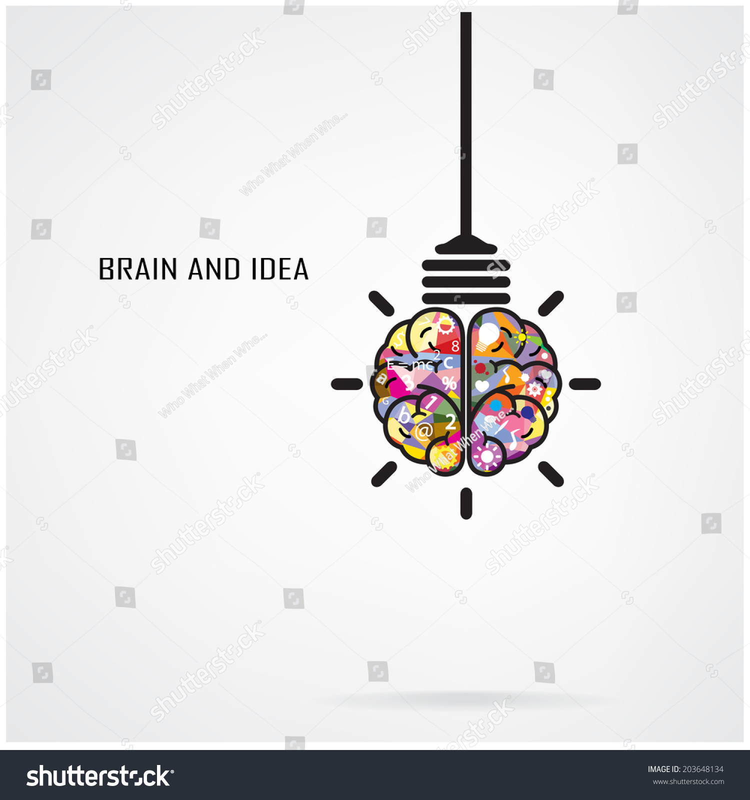 creative brain idea and light bulb concept design for poster flyer cover brochure business idea - Idea Design