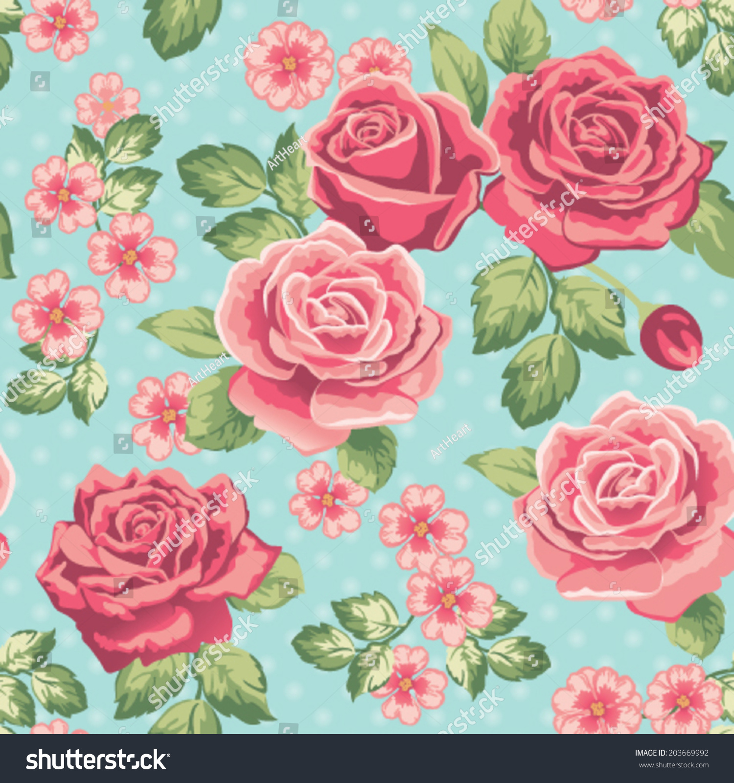Vintage Seamless Pattern With Pink Roses On Blue. Vector ... |Vintage Floral Rose Pattern