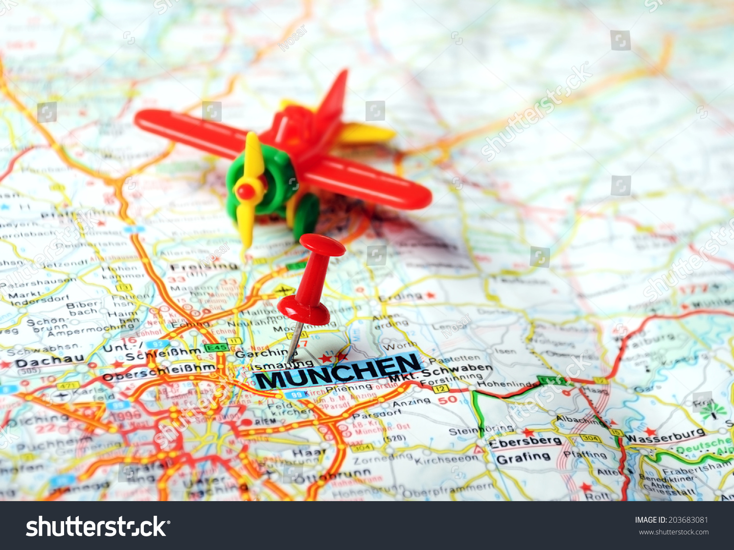 Close Up Of MunchenGermany Map With Red Pin And Airplane Travel - Munchen germany map