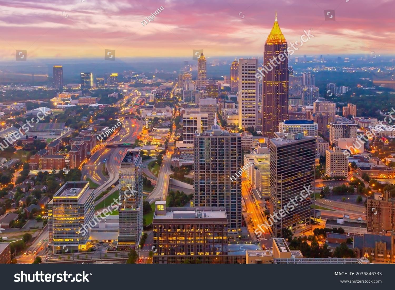Downtown Atlanta center area skyline cityscape of  USA at twilight #2036846333