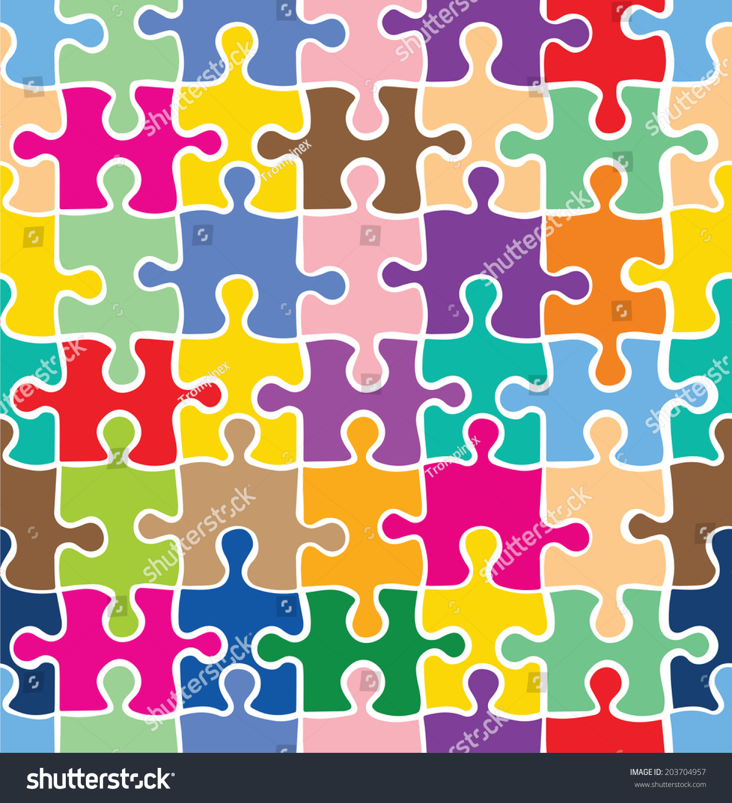 Colorful Puzzle Texture Decorative Pattern Seamless Stock Vector