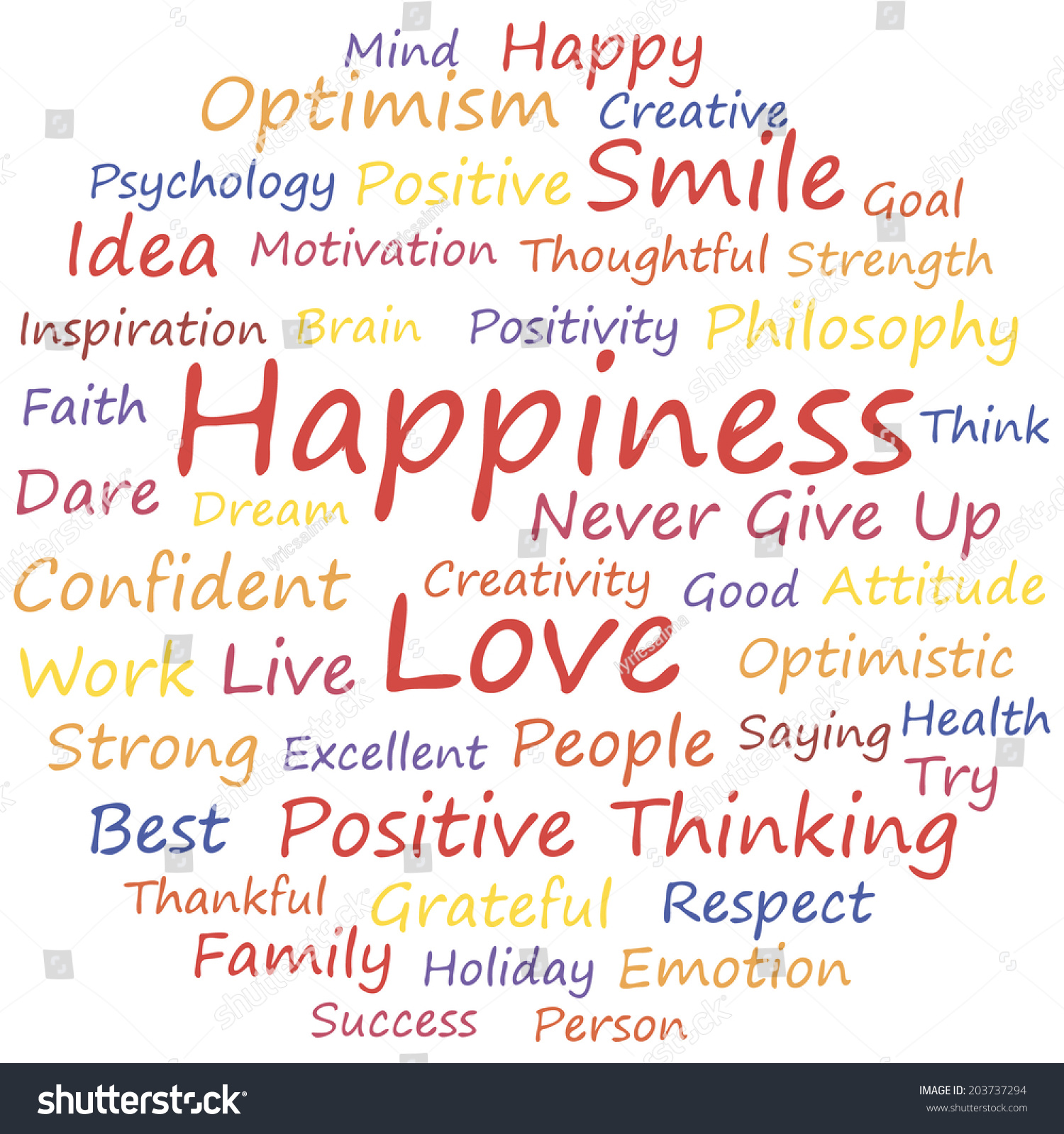 A Word Of Happiness: Happiness Word Cloud Concept, A Vector Illustration
