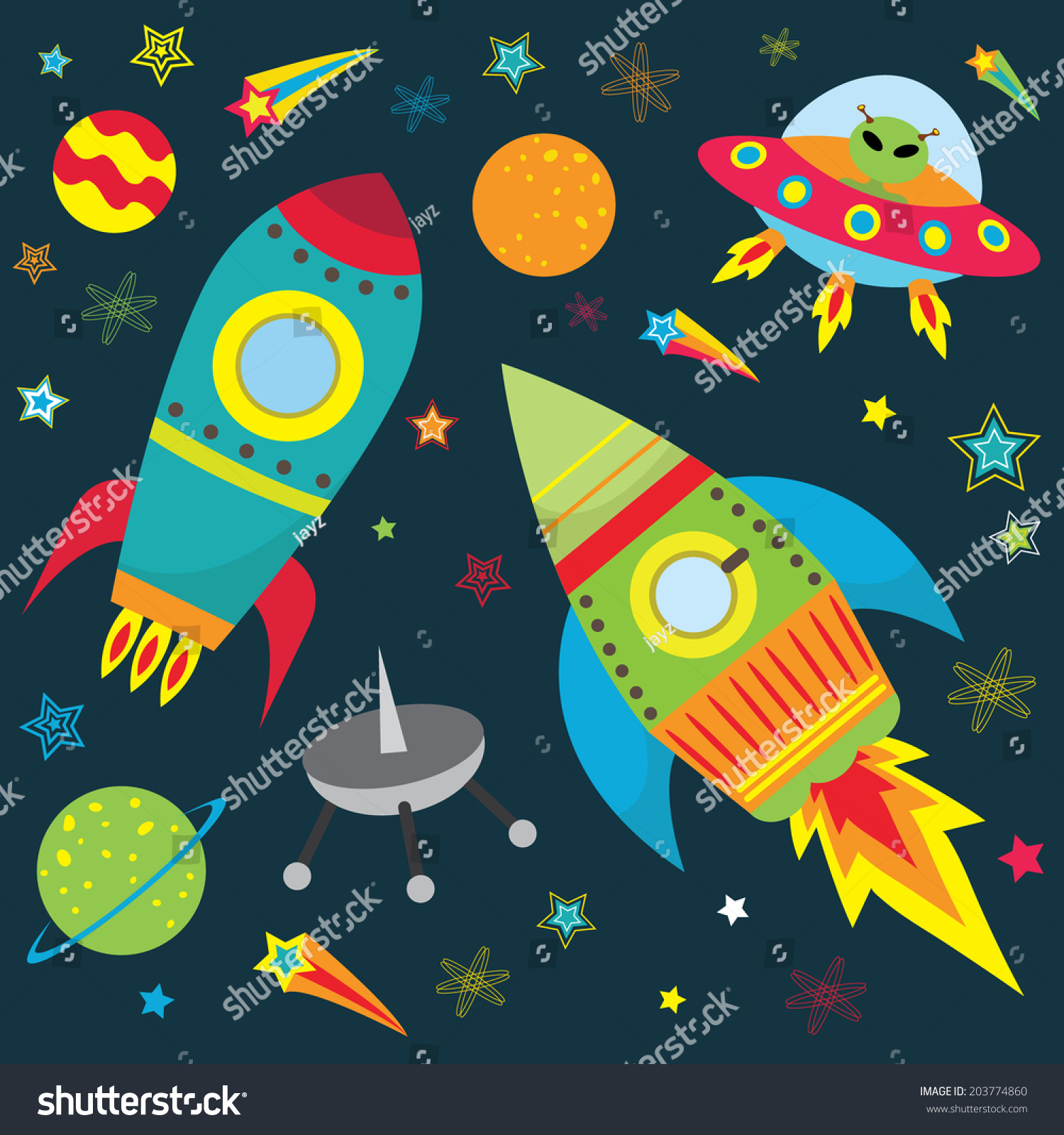 outer space design set illustration stock vector 203774860