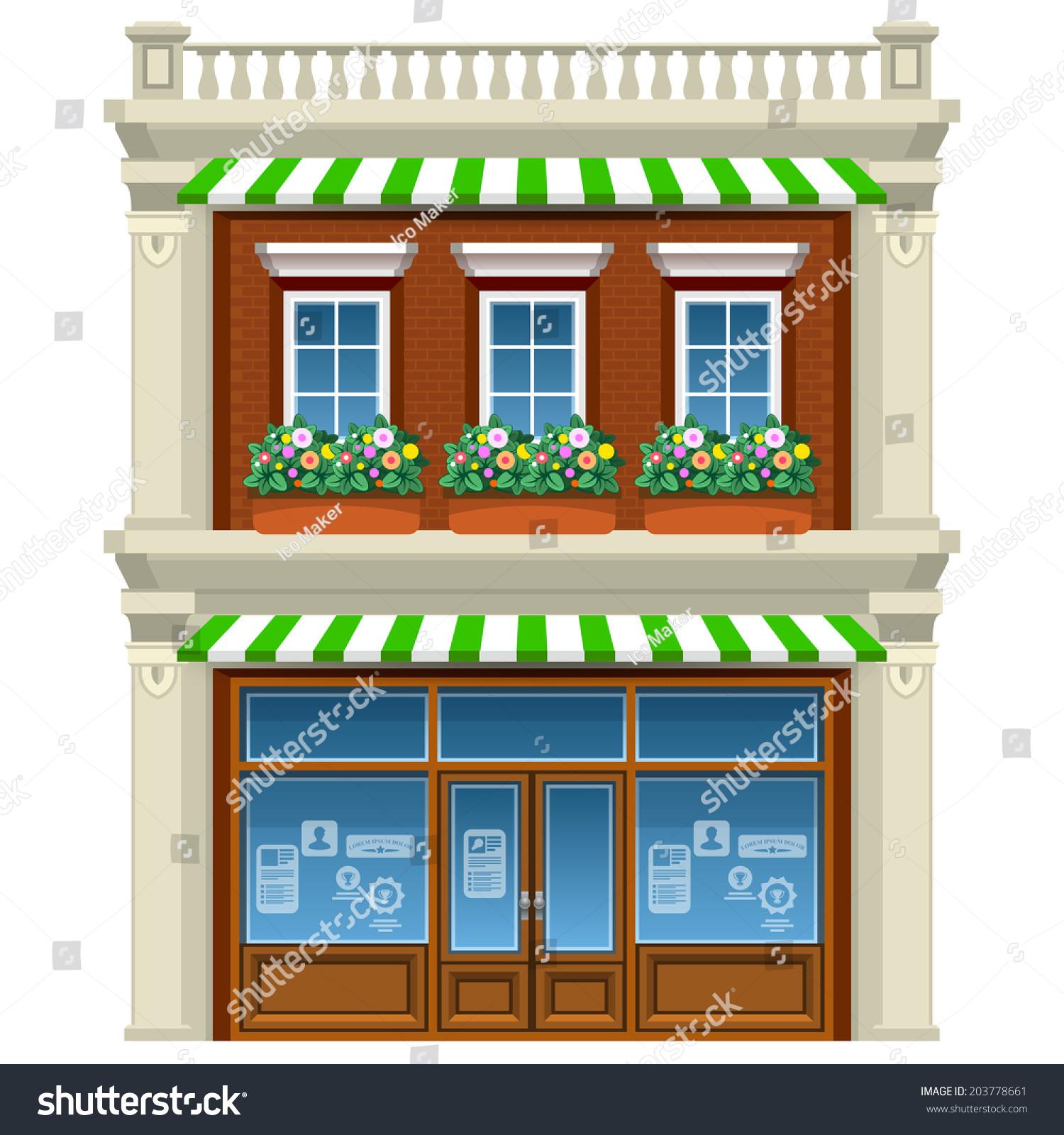 Animated House Windows : Floor house with flowers under windows cartoon vector