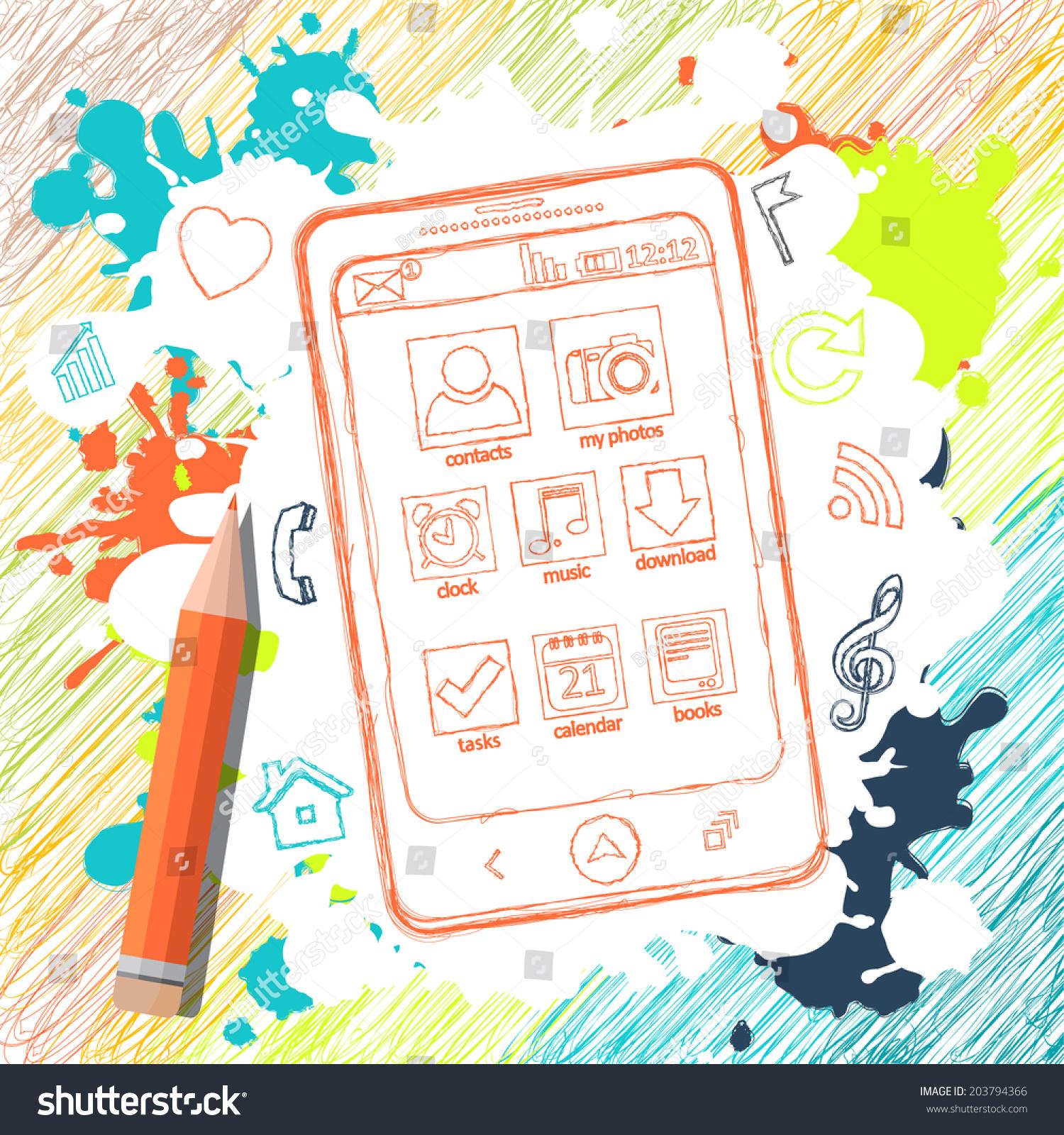 Pencil sketch mobile phone applications pencil stock vector royalty