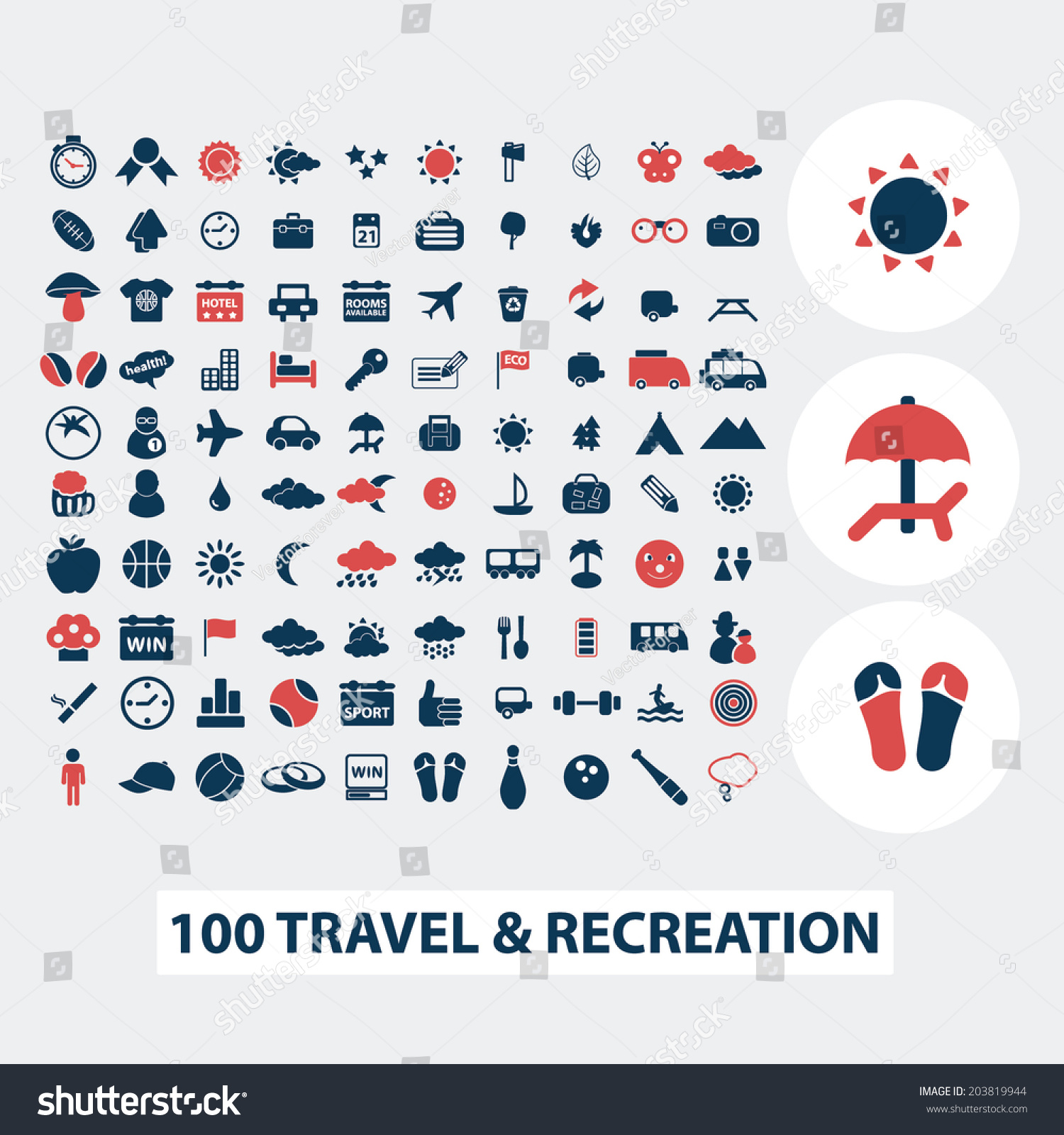 100 Travel Vacation Summer Icons Signs Stock Vector Royalty Free
