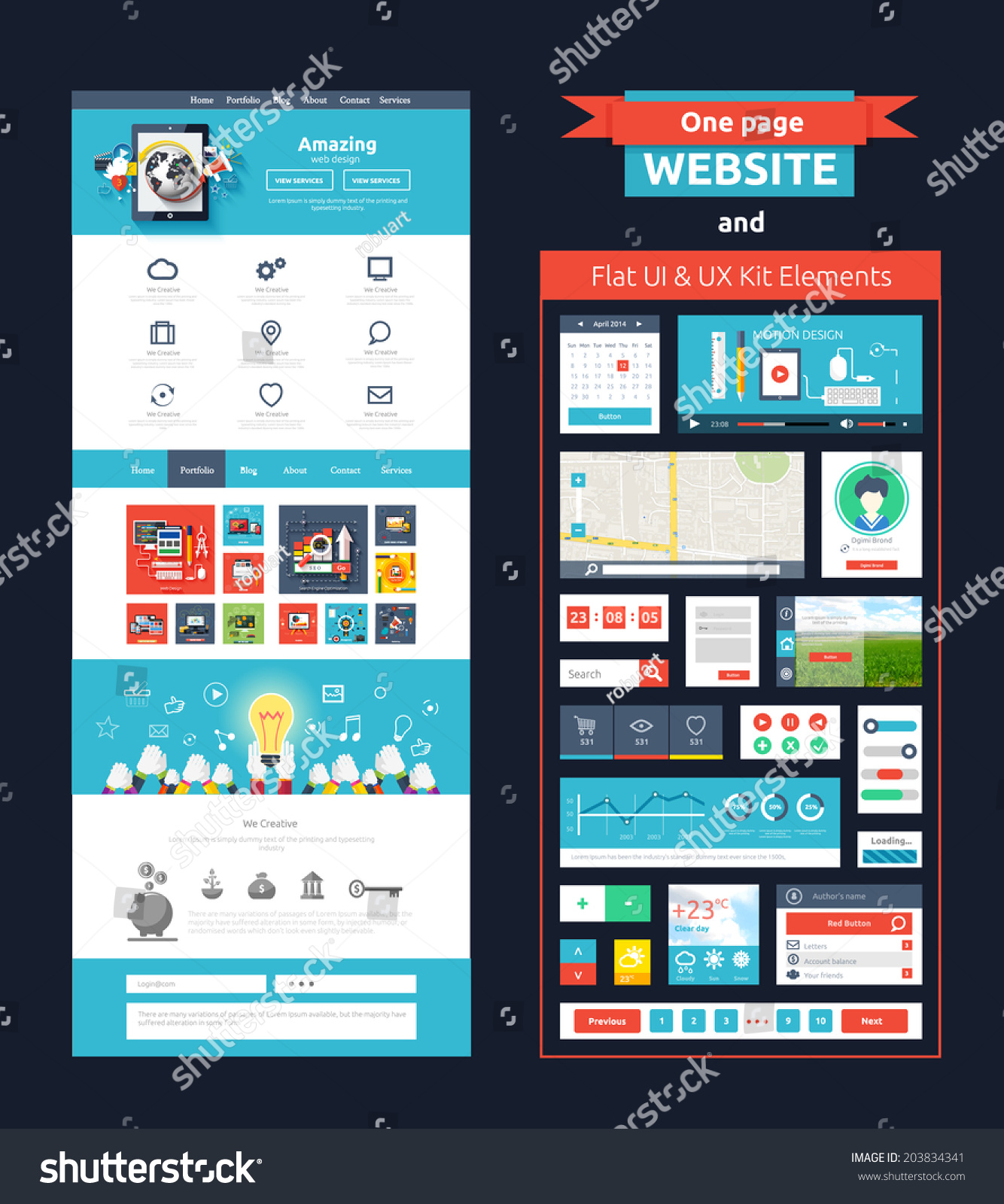 Website Page Template Web Design Set Stock Vector 203834341 ...