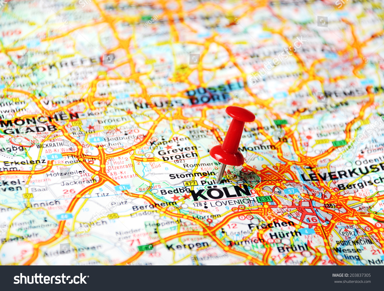 Close Koln Germany Map Red Pin Stock Photo Shutterstock - Map of koln germany