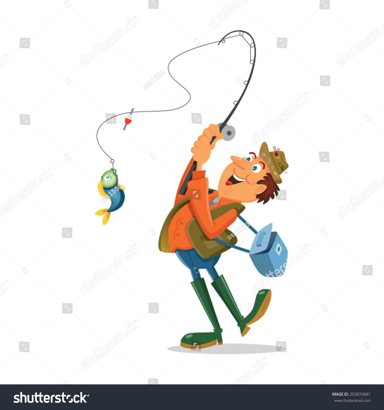 Fisherman Cartoon Character Fishing Rod Fish Stock Vector
