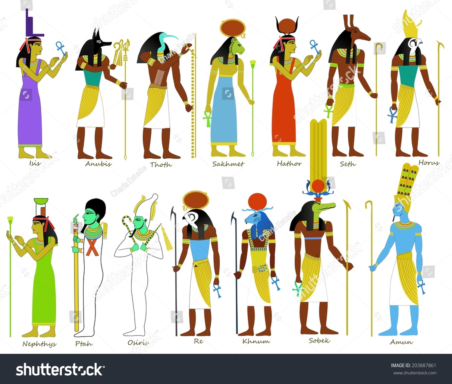 9 gods of ancient egypt lessons tes teach a set of ancient egyptian gods and goddesses illustrations publicscrutiny Image collections