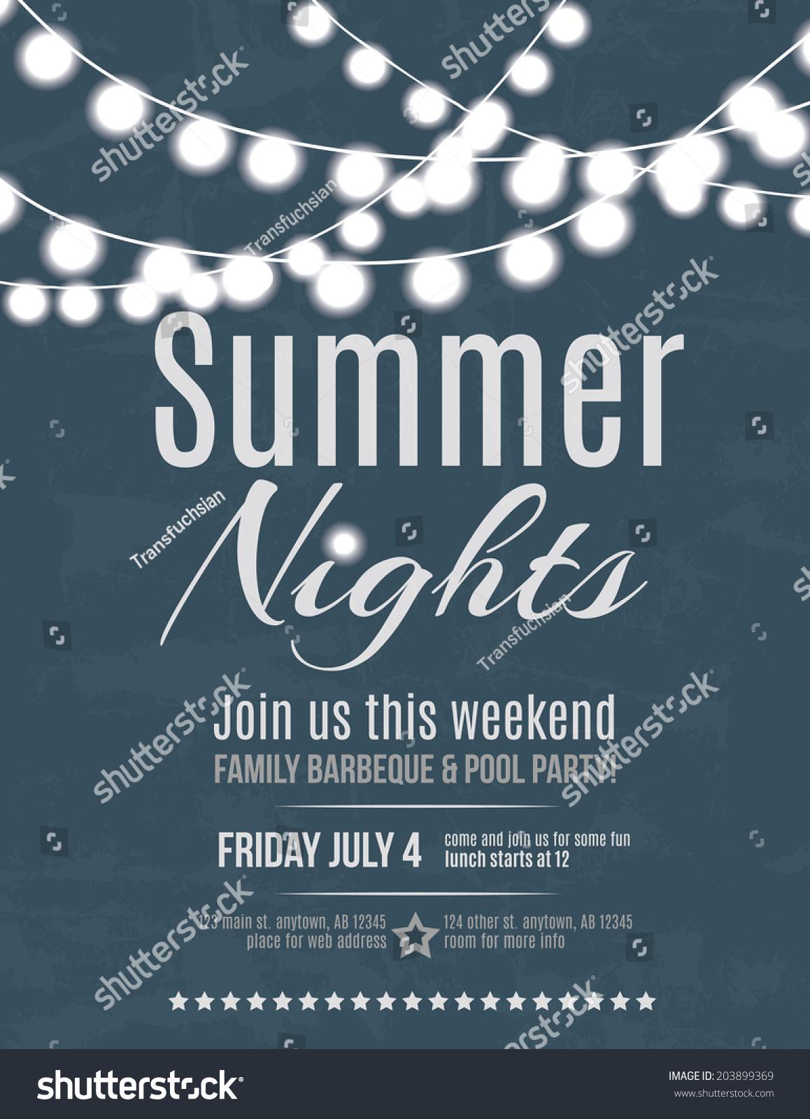 Elegant Summer Night Party Invitation Flyer Stock Vector Royalty