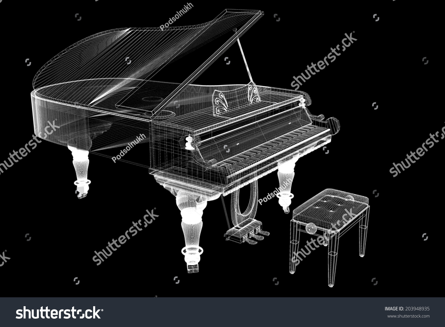 stock photo antique grand piano with path d model body structure wire model 203948935 piano wire bender wiring diagrams wiring diagrams Upright Piano at panicattacktreatment.co