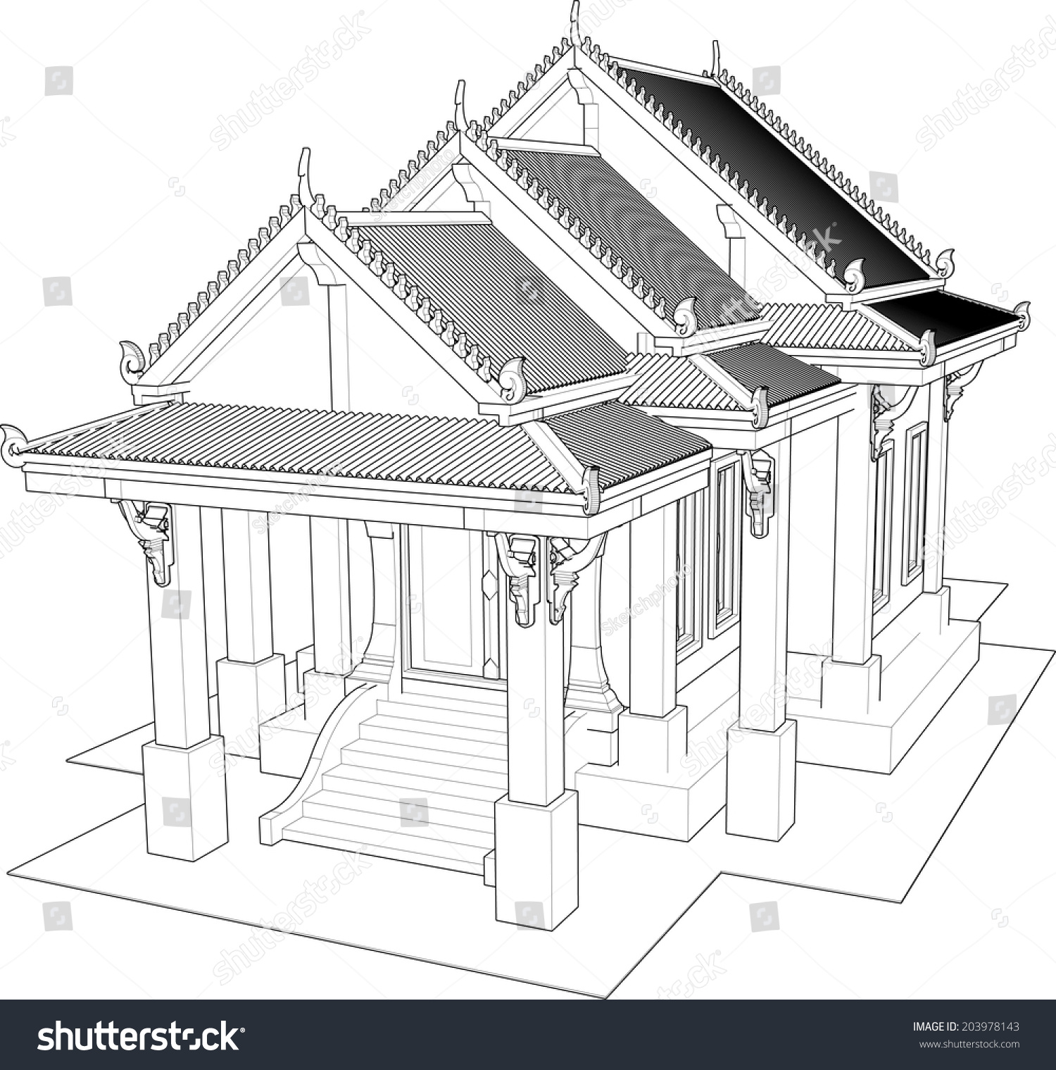 Architectural Design Small Temple Thailand Stock Vector 203978143 ...