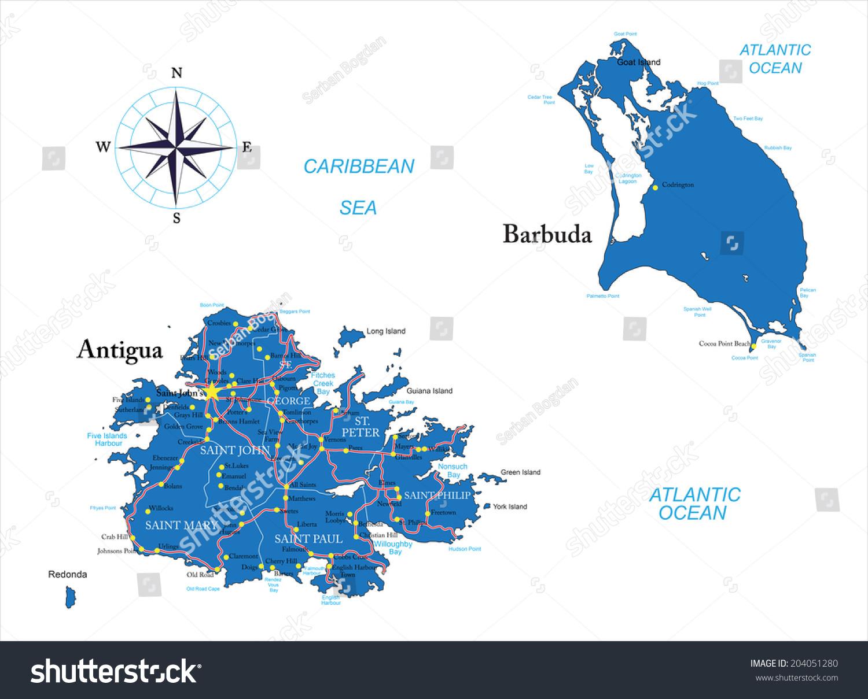 Antigua Barbuda Map Stock Vector Shutterstock - Antigua and barbuda map