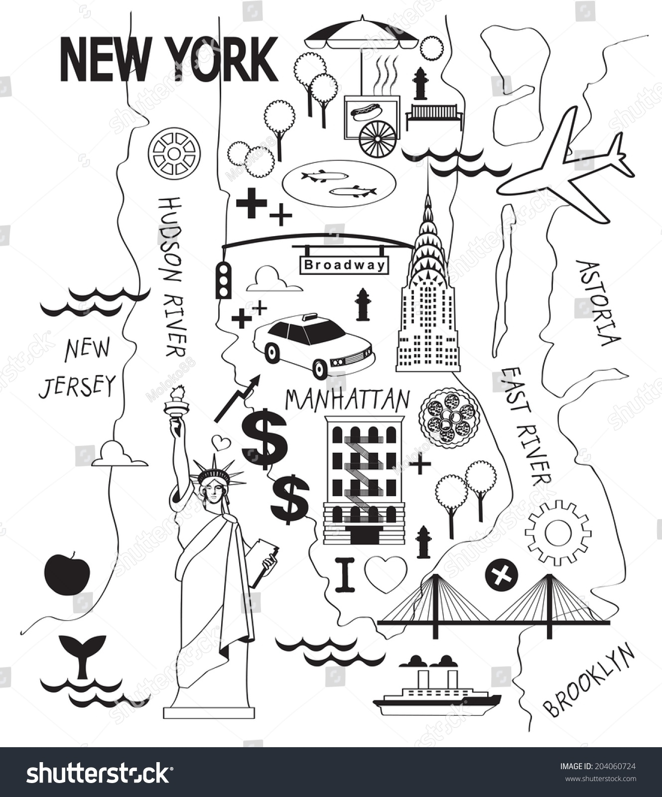 Cartoon Map Of New York City.Cartoon Map New York City Stock Vector Royalty Free 204060724